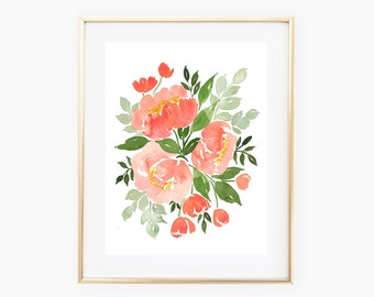 Coral Peonies INSTANT DOWNLOAD