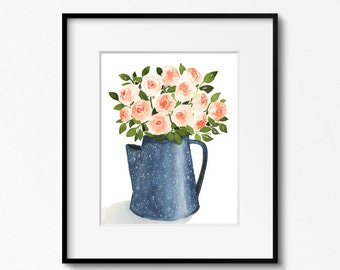 Roses in Blue Pitcher 11x14 Original Watercolor