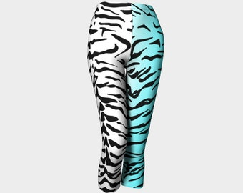 Snow Tiger Fitness Pants - Wild Animal Print - Women's Workout Pants - Ladies Gym Tiger Leggings -  Tiger Print Fitness Leggings White/Teal