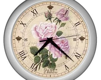 Retro Wall clock vintage roses image Wall  decor pink rose decor
