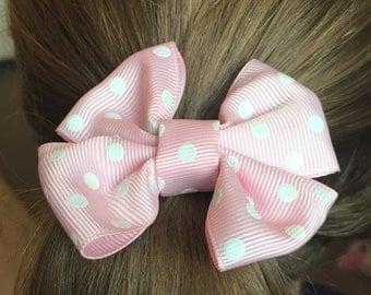Hair bow, hair accessories, hair clip, hair bow, pink hair clip, Spotty bow hair clip, childrens hair accessories, kids hair accessory