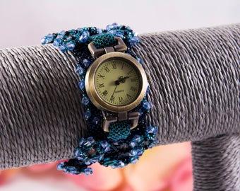 Blue bracelet watch, beaded, unique