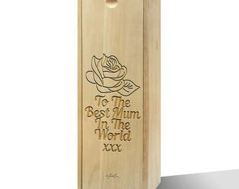 To The Best Mum In The World Rose Wooden Wine Box