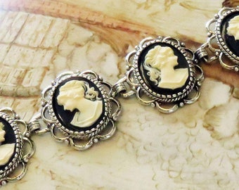 Cameo Bracelet, cameo jewelry, Victorian bracelet, Reign bracelet, Tudor bracelet, Statement bracelet, gothic bracelet, gift for her