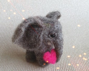 Valentine elephant , needle felted, the cutest African Elephant with added heart for Valentine's Day