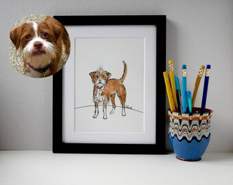 "Custom Pet Illustration, Custom Pet Portrait. Quirky Dog Illustration, Pet Art, 10"" x 12"""
