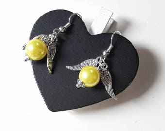 Harry Potter Quidditch Golden snitch earrings yellow fairy wings antique silver metal beads