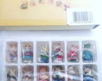 Set of 18 Mini Bunny Ornaments