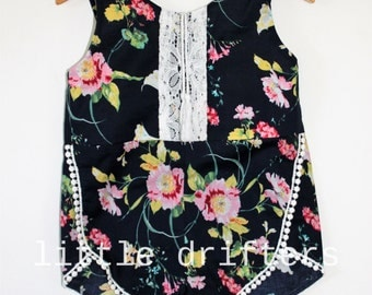 Gorgeous Navy Floral Tassle Playsuit Size 18-24 Months to 6 Years