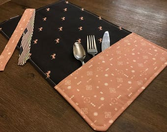 HORSES (HORSES) / rolled napkin, Pocket tools, portable placemat, for school, for work, doily for lunch box!