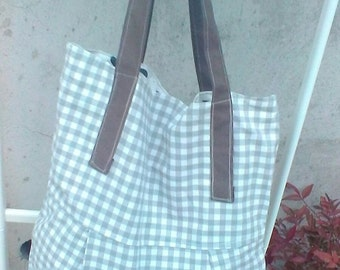 White and brown cotton diaper bag hand bag