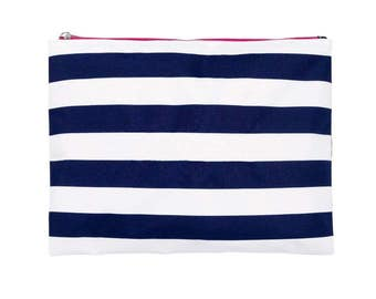Preppy striped Zip Pouch