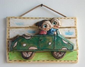 Terracotta sculpture-terracotta poster-terracotta figurines-figurines-sculptural clay handmade terracotta-fall in love-car