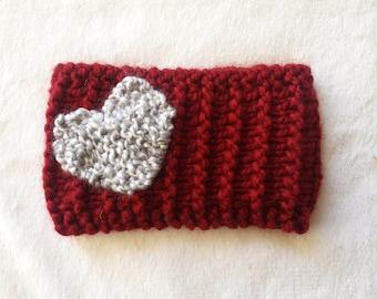 Heart Headband Valentine Headband Hand Knit
