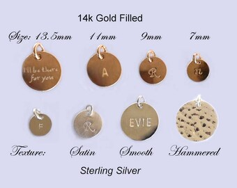 Disc add on - add a Sterling Silver gold filled Circle Tag, Personalized initial name Necklace charm, engraved customized necklace bracelet