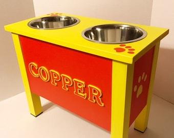 XLarge Dog Dish Stand,Elevated Pet Bowl, Personalized Dog Bowl, Dog Bowl, Raised Dog Feeder, Elevated Dog Feeder, Dog Feeding Station,Wood