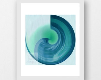 BLUE MOON - celestial lunar art print, galaxy, interior styling, design lover, modernist, wall art, dreamy, turquoise