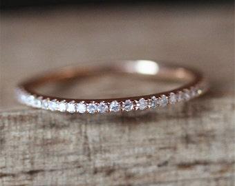 Danity Wedding Ring Half Eternity Pave Diamonds Ring Stackable Match Ring 14K Rose Gold Ring Bridal Band Engagemet Wedding Ring