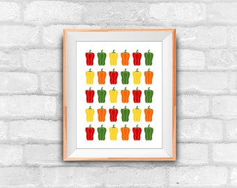 pepper pattern, kitchen decor, wall decor, instant download, printable art, digital illustration
