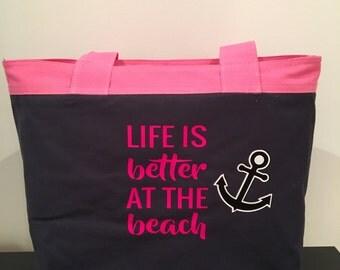 Life is better at the beach bag, beach bag, beach tote, canvas beach bag