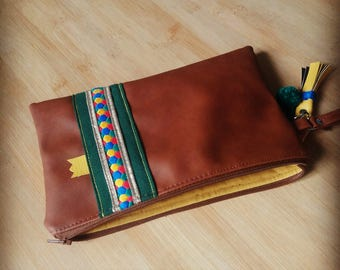 Pouch Brown, green, yellow