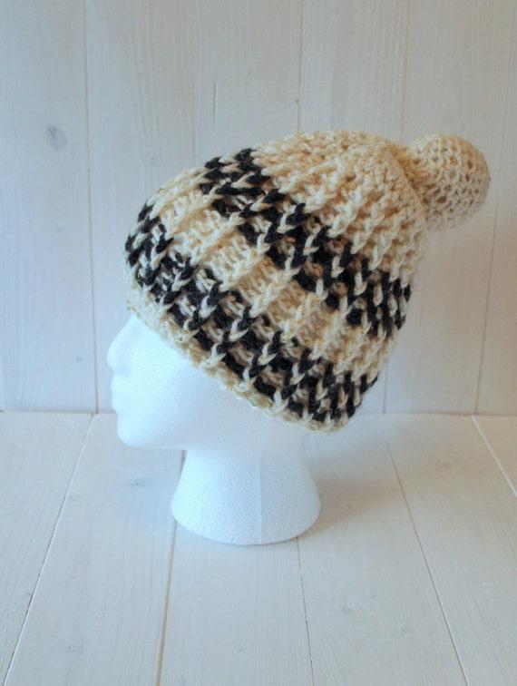 Hat, Pom pom hat, Bobble hat, Beanie Hat, Mens hats, Womens Hats, Womens beanie, Mens beanie, Cream grey hat,  Crochet hat, Ready to ship,