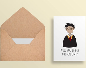 Printable Valentine Card - Harry Potter Greeting Card - Will you be my chosen one? - - Cute Funny Card - Printable Card//Digital Download