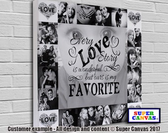 Every Love Story personalised bespoke framed Canvas Print with 17 pictures