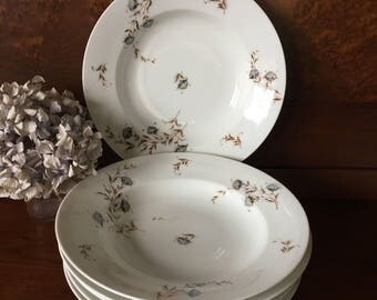 Antique Porcelain Haviland & Co Floral Soup Bowls - Limoges 1880s - Set of 6