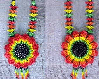 SALE Native Beaded Necklace Mexican Huichol tribal gypsy beaded flower necklace 2 sided hand made orange red yellow brown green seed beads