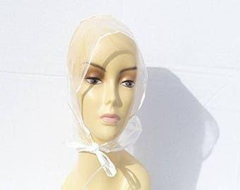 Women  Plastic  Rain  Hat Cap  Bonnet
