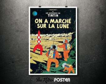 TinTin - On A Marché Sur La Lune - Le Aventures De TinTin - Hergé, 1954 - Kids Gift, Kids Prints, Nursery Decor, Nursery Prints