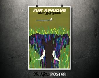 Air Afrique, Unit L'Afrique, Par Jet DC8, Elephant Print, High Quality Poster Print or Canvas Print, Various Sizes, Vacation, , Advertising