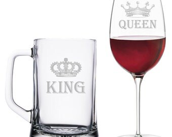 King Beer Mug and Queen Wine Glass Set - Wedding Gift - BM15OZ-AR134B / WG18OZ-AR134B