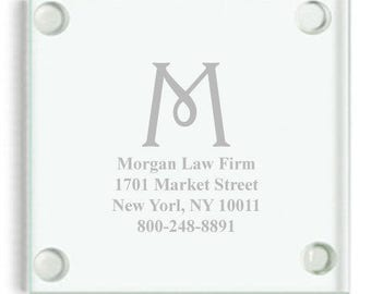 4 pcs Harrington Business Relations Engraved Glass Coaster - CS8100-AMC40D