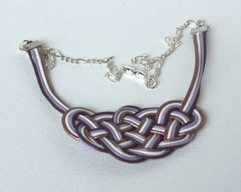 necklace - knot pendent - leather ropes - complex knot - white, violet, copper