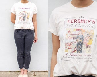Vintage Hershey's Graphic Tee Printed Cream T Shirt