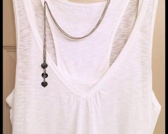 Silver Lariat Necklace, 3 Chain Necklace, Vintaj, 3 Chain Lariat, Vintaj Heart, Mixed Metal Necklace, Long Lariat, Bohemian Necklace