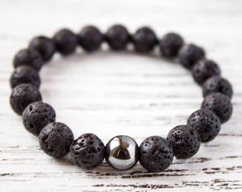 Black Lava Hematite Bracelet Minimalist Black Bracelet Boyfriend Bracelet Brother Bracelet Fashionable Bracelet Gift for him Husband Gift