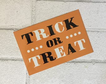 Halloween Sign - Trick or Treat Sign - Wreath Sign - Aluminum Sign - Wreath Attachment - Welcome Sign