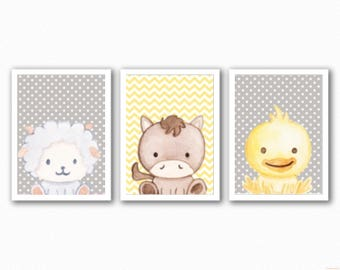 Set 3 Farm Animal Prints - Pink/Blue/Yellow - Changeable Character and Backgrounds