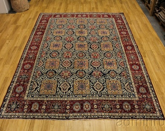 Rare Allover Pattern Navy Blue Isfahan Persian Oriental Area Rug Carpet 8X11