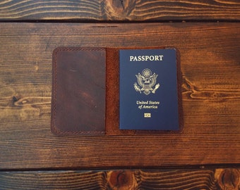 Personalized Leather Passport Holder/ Brown Leather Passport Cover/ Passport Wallet