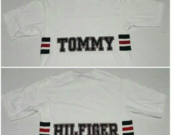 Vintage Tommy Hilfiger T Shirt Double Side White size Small fit Medium Made in USA