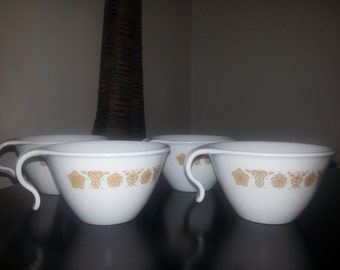 Corelle Golden Butterfly  Open Handle Coffee Cups Set of 4