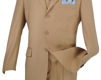 Classic-fit men's suit 3 piece suit 3 bottons solid khaki suits new with tag