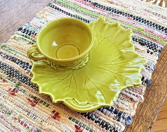 Woodfield Stubenville Ohio Snack Plates with Cups Three Sets Chartreuse Cabbage Leaf Plates Leaf Pattern Cups Pottery Snackware