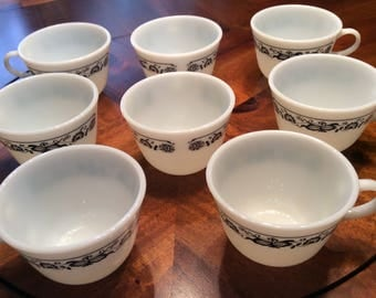 Vintage Blue and White Pyrex Old Town Blue Coffee/Tea Cups - Set of Eight (8)