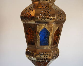 free fast shipping Intricate Moroccan brass lamp