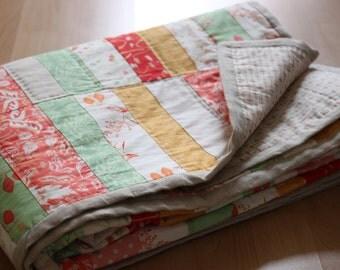 Quilt, bedspread sorbet, patchwork quilt, handgequiltet, 144 x 214